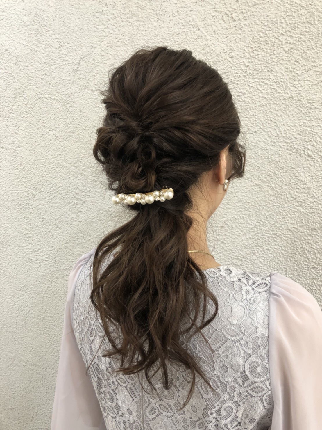 結婚式 ヘアセット ポニーテール